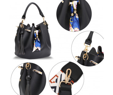 Kabelka Black Drawstring Bucket Bag With Pouch