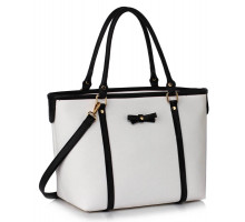 Kabelka Black / White Decorative Bow Tie Tote Shoulder Bag