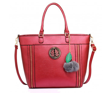 Kabelka Anna Grace Burgundy Tote Bag With Faux-Fur Charm