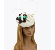 Klobouček Ivory / Purple / Green Mesh Feather Hat Fascinator