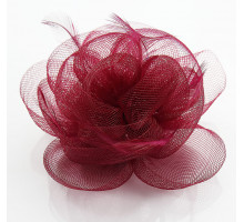 Ozdoba do vlasů Wine Red Feather & Flower Fascinator