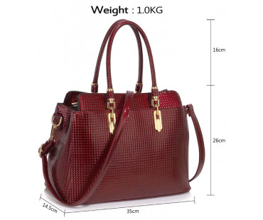 Kabelka Burgundy Women's Tote Bag With Polished Hardware