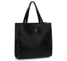 Kabelka L&S Fashion Black Bow Decoration Shoulder Bag - černá
