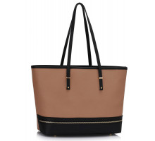 Kabelka L&S Fashion Black / Nude Zip Detail Large Tote Bag