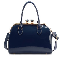 Kabelka Navy Patent Satchel With Metal Frame