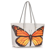 Kabelka White Colorful Dragonflies Print Tote Shoulder Bag
