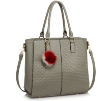 Kabelka L&S Fashion Grey Tote Grab Handbag With  Faux Fur Charm
