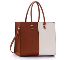 Kabelka Large Brown / White Fashion Tote Handbag