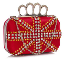 Psaníčko Red Women's Knuckle Rings Evening Bag