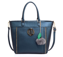 Kabelka Anna Grace Navy Tote Bag With Faux-Fur Charm