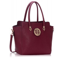 Kabelka Burgundy Polished Metal Shoulder Handbag