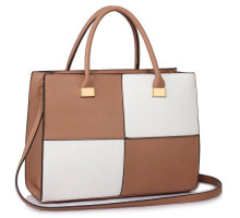 Kabelka L&S Fashion Large Nude /White Fashion Tote Handbag