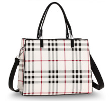 Kabelka White / Black Check Print Fashion Tote Bag With Silver Metal Work