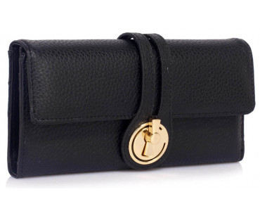Peněženka Black Purse/Wallet With Gold Tone Metal