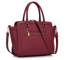 L&S Fashion kabelka Burgundy Grab Tote Handbag