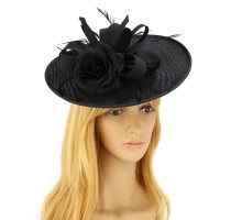 Klobouček Black Flower Mesh Hat Fascinator