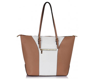 Kabelka Large Nude / White Shoulder Handbag