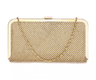 Psaníčko Gold Crystal Beaded Evening Clutch Purse