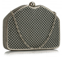 Psaníčko Grey Beaded Clutch Bag