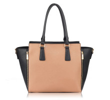 Kabelka L&S Fashion Black / Nude Zipper Tote Bag