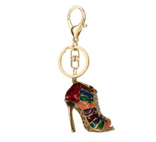 Přívěsek Gold Metal Multi Colour Shoe Rhinestone Bag Charm
