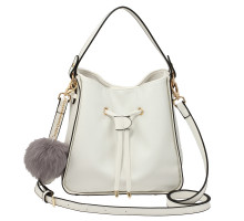 Kabelka White Drawstring Tote Bag With Faux-fur Bag Charm - bílá