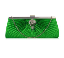 Psaníčko Green Satin Clutch Bag With Crystal Decoration - zelené