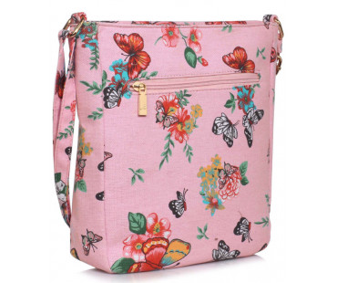 Kabelka Pink Butterfly Canvas Cross Body Bag