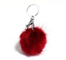 Přívěsky na kabelku Burgundy Fluffy Fur Bag Charms