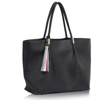 Kabelka L&S Fashion Black Tassel Charm Shoulder Bag