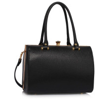 Kabelka Black Structured Metal Frame Top Handbag