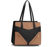 Kabelka Black / Nude Buckle Detail Shoulder Bag