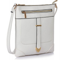 Kabelka White Buckle Detail Crossbody Bag