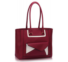 Kabelka Burgundy Front-pocket Tote Shoulder Bag - vínová