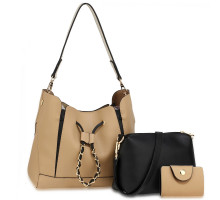 Kabelka 3 kusový set Nude / Black Women's Fashion Handbags