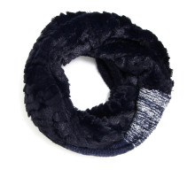 Šála Navy Women's Faux Fur Trim Winter Scarf - modrá