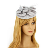 Klobouček Grey Feather & Flower Hair Fascinator