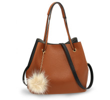 Kabelka Black / Brown Hobo Bag With Faux-Fur & Tassel Charm