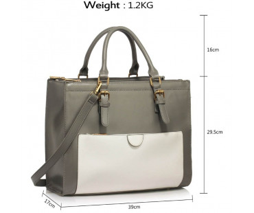 Kabelka Grey /White Front Pocket Grab Tote Handbag