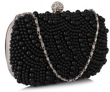 Psaníčko Black Beaded Pearl Rhinestone Clutch Bag