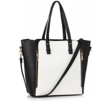 Kabelka Black / White Zipper Shoulder Bag - bílá