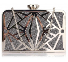 Psaníčko Black / Silver Hard Metal Box Clutch
