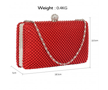 Psaníčko Red Crystal Beaded Evening Clutch Bag