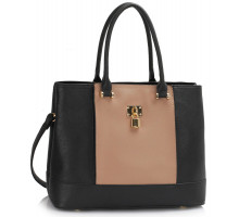 Kabelka Black / Nude Women's Padlock Tote Bag