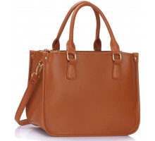Kabelka L&S Fashion 3 top Zip Brown Tote Handbag - hnědá