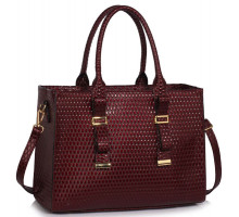 Kabelka Burgundy Buckle Detail Tote Shoulder Bag