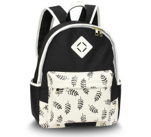 Batoh Black Leaves Print Backpack School Bag