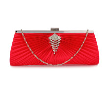Psaníčko Red Satin Clutch Bag With Crystal Decoration - červené