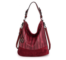 Kabelka Anna Grace Burgundy Hobo Bag With Black Metal Work