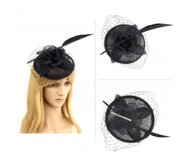 Klobouček Black Feather & Flower Mesh Hat Fascinator